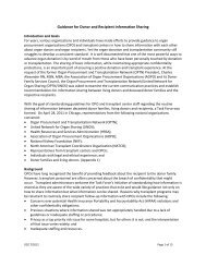 Guidance for Donor and Recipient Information ... - Transplant Pro