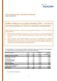 Chiffre d'affaires du premier trimestre 2010 : +3,1% en ... - Accor