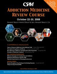 Addiction Medicine Review Course - California Society of Addiction ...