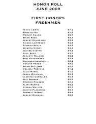 HONOR ROLL JUNE 2009 FIRST HONORS FRESHMEN