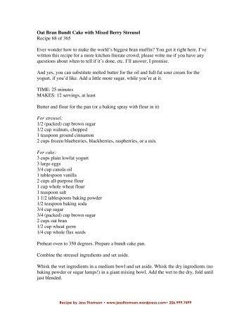 Recipe for Oat Bran Bundt Cake with Mixed Berries - WordPress.com