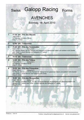 18. April 2010 AVENCHES Rennen 1 - Galopp Racing Forms