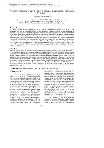 teledetección y sig en la gestión de los incendios forestales en galicia
