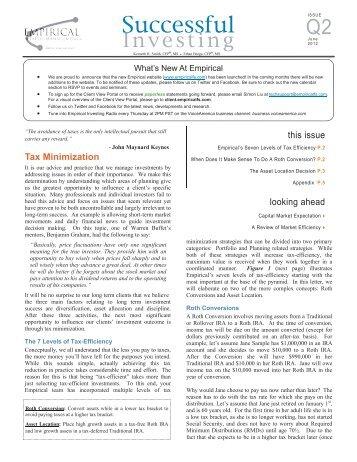Tax Minimization - Empirical Wealth Management