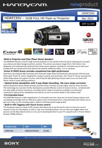 HDRPJ30V - 32GB FULL HD Flash w/ Projector