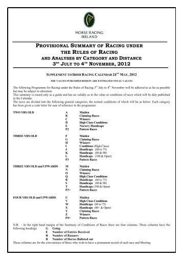 Flat Provisional Summary - Horse Racing Ireland