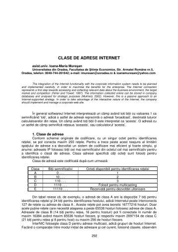 CLASE DE ADRESE INTERNET - Facultatea de Ştiinţe Economice
