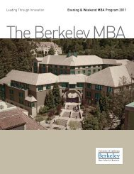 Evening & Weekend MBA Program 2011 - Berkeley MBA