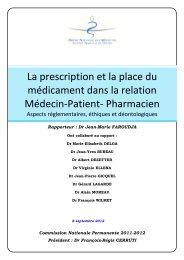 Intégralité du rapport La prescription et la place du médicament ...