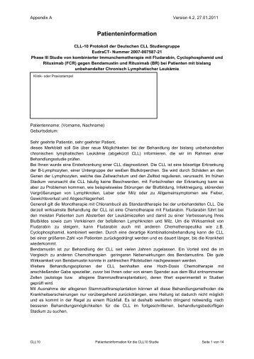 Patienteninformation zur Studie - DCLLSG
