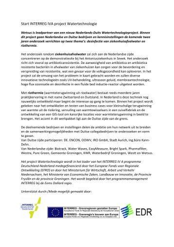 Start Interreg IVA project Watertechnologie - Wetsus