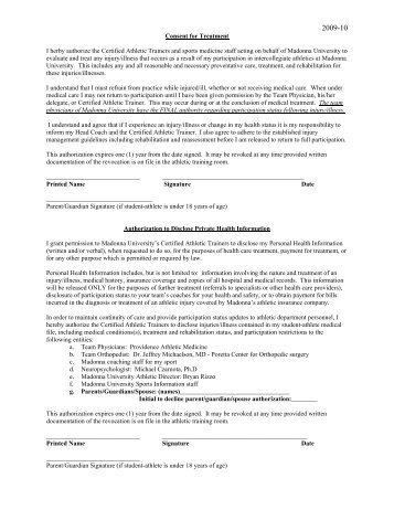 Consent for Treatment I herby authorize the Certified Athletic ...