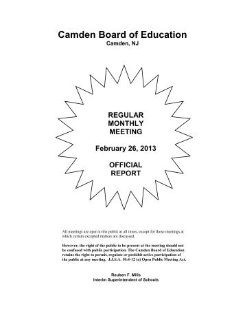 February 26 2013 Superintendent Report - Camden City Public ...