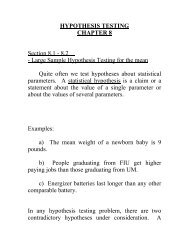 HYPOTHESIS TESTING CHAPTER 8 Section 8.1 - 8.2 - Large ...