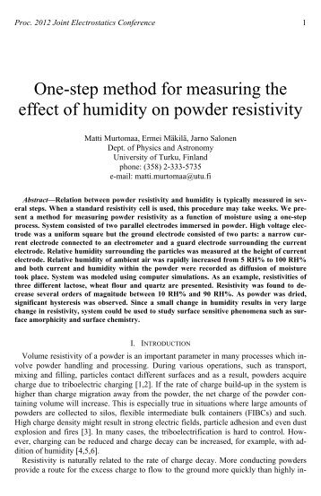 One-step method for measuring the effect of humidity on powder ...