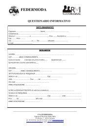 Questionario informativo studenti - CNA Emilia Romagna
