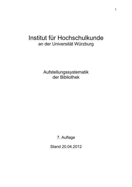 Systematik - Institut für Hochschulkunde - Universität Würzburg