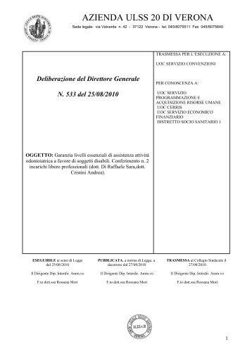 Deliberazione del Direttore Generale N. 533 del ... - ULSS 20 Verona