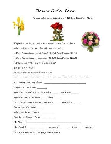 Flower Order Form - Rhinebeck Dance Centre