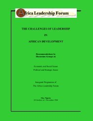 THE CHALLENGES OF LEADERSHIP IN AFRICAN DEVELOPMENT