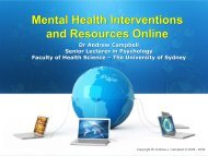 Mental Health Interventions and Resources Online Mental Health ...