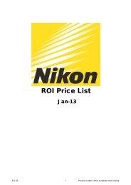ROI Price List January 2013 - Nikon UK