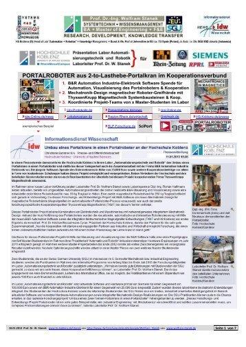 Umbau Portalkran in einen Portalroboter: B&R ... - Prof. Stanek