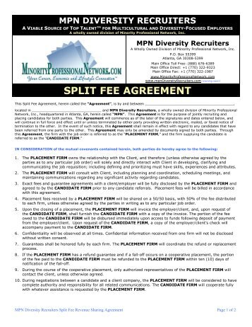 Fee agreement prospect partners split fee agreement minority professional network platinumwayz