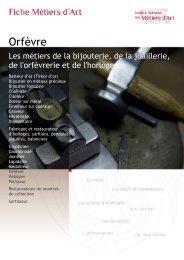 Orfèvre - Institut National des Métiers d'Art