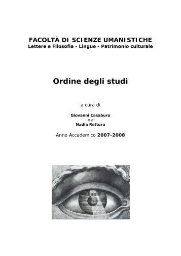 Ordine degli studi - Facoltà di Scienze Umanistiche - Sapienza