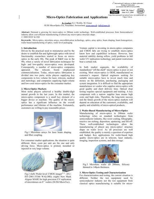 Micro-Optics Fabrication and Applications - SUSS MicroOptics