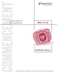 Download the 2013 Spring Commencement Program ... - Virginia Tech