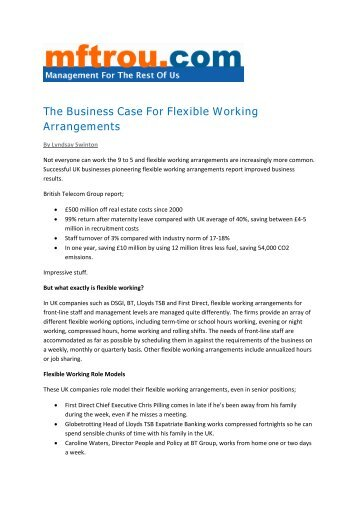 delineation of flexible work arrangements