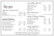 Spa Price List - Dromoland Castle Hotel