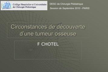Diagnostic d'une tumeur osseuse - F CHOTEL - SOFOP