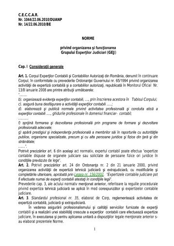 Norme privind organi.. - C.E.C.C.A.R. – Filiala Brasov