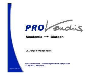Vortrag von Dr. Jürgen Walkenhorst (PROvendis ... - BIO Deutschland