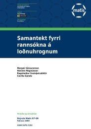 Samantekt fyrri rannsókna á loðnuhrognum - Matís