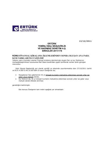 2011-178-finansal kiralama işlemlerinden sonra oluşan ana para ...
