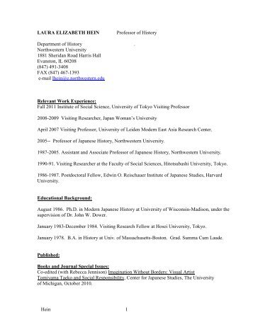 Curriculum Vitae - Department of History - Northwestern University