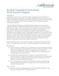 Rural & Cooperative Promotions - California Tourism