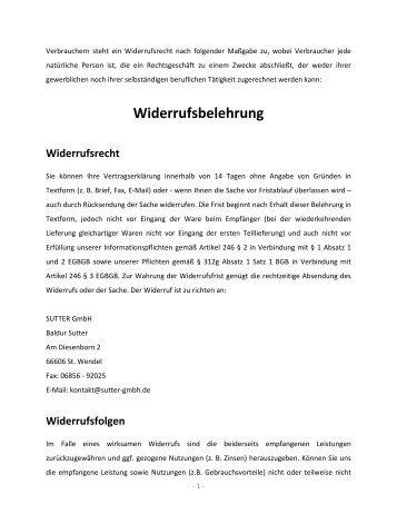 Widerrufsbelehrung Widerrufsrecht - Sutter GmbH