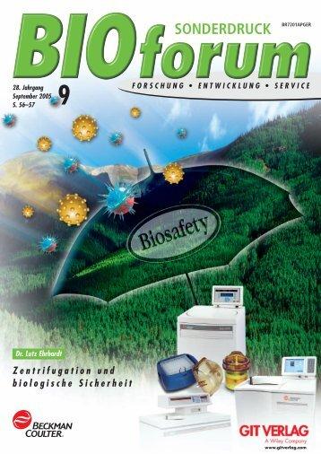 Zentrifugation und biologische Sicherheit - Beckman Coulter