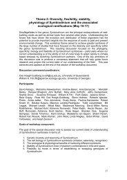 Theme 2: Diversity, flexibility, stability, physiology of Symbiodinium ...