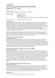 ARC5141 ADVANCED URBANIZATION STUDIO 2008-09 1 2 Term
