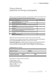 Treasury Reserve Application for filming or photography
