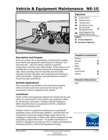 Vehicle & Equipment Maintenance NS-10 - (BMP) Handbooks