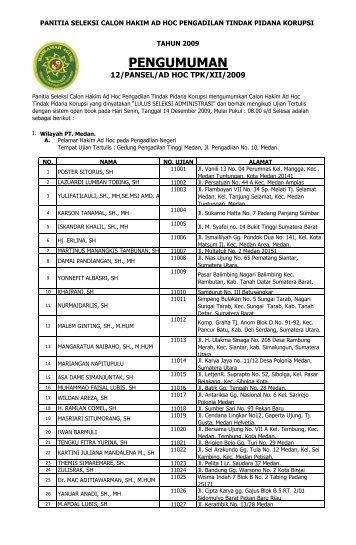 Daftar nama peserta yang lulus seleksi administrasi - PT Bandung