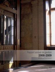 Rapport annuel de gestion 2008-2009 du ... - Conseil exécutif