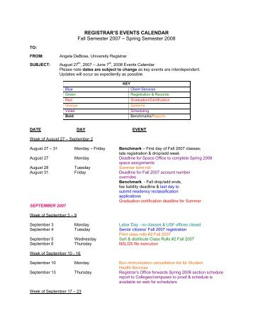 Usf Registrar Calendar.30 Free Magazines From Registrar Usf Edu